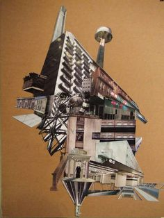 Architectural Collage. Blocking out background. PLACE, PROPERTIES AND DWELLINGS