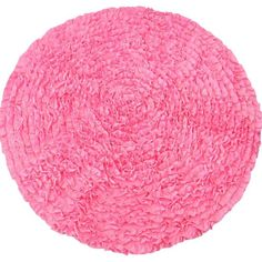 This luscious pink ruffle rug is plush and made of rows and rows of ruffles in knit fabric with a 2 layer felt backing. It looks great in the nursery or kids ro
