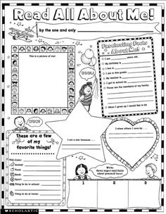 all about me worksheets printables | Instant Personal Poster Sets: Read All About Me!: 30 Big Write-and ...