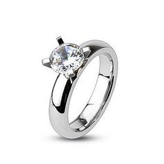Stainless Steel Prong-Set Round Fancy Shank Comfort Fit Engagement Ring with Clear CZ