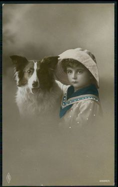 Edwardian Child Boy Border Collie Dog original vintage old 1910s photo postcard