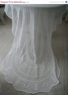 crocheted oval tablecloth shabby chic tablecloth by ShabbyRoad, $27.20