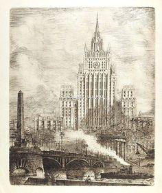 1952 Баранский Александр Иванович (1890-1965) «Москва. Вид на здание МИДа со стороны набережной»