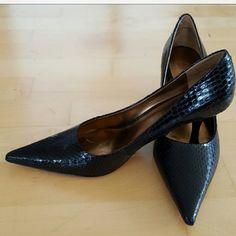 Black pumps Snake skin comfy black pumps Nine West Shoes Heels