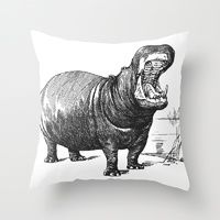 Throw Pillow featuring Hippopotamus by LebensART