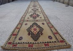 15' Extra Long Handmade Embroidered Staircase Narrow Turkish Kilim Rug  Runner #Contemporary