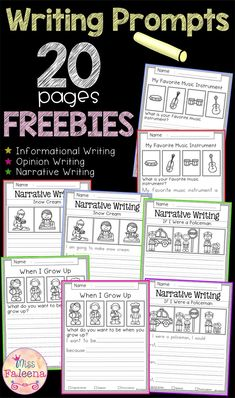 Free Writing Prompts contains 20 free pages of writing prompts worksheets. This product is suitable for kindergarten and first grade students. Kindergarten Freebies, Kindergarten Writing, Teaching Writing, Teacher Freebies, Narrative Writing Prompts, Writing Lessons, Writing Workshop, First Grade Worksheets, Writing Worksheets