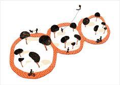 """Panda Park"" print // illustration by Tang Yau Hoong Space Illustration, Creative Illustration, Panda Tree, Tang Yau Hoong, Negative Space Art, E Design, Graphic Design, Space Artwork, Noma Bar"