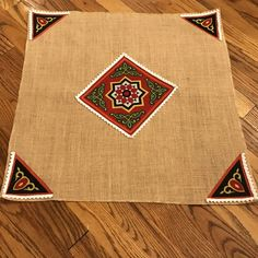 ea5dd1e2f Ramadan small table cloth for coffee tables made from burlap and decorated  with traditional khayamia fabric.