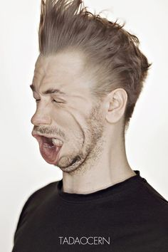 "Artist 'blows away' photo subjects Powerful blasts of wind are used to create interesting facial expressions in images by Lithuanian photographer Tadao Cern for his smartly titled series ""Blow Jobs"". Wtf Face, Blown Away, Face Expressions, Photography Projects, Photography Tricks, Weird Pictures, Photo Projects, Weird And Wonderful, Interesting Faces"