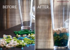 Legos in a vase as art! Instead of boring marbles, up your geek cred!