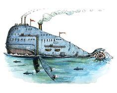 Steamboat Whale, 8 x 10 print.. $16.00, via Etsy.