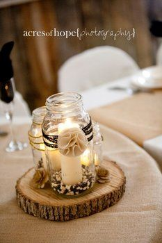 wood slices, mason jars, candles