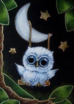 Art: TINY BABY BLUE OWL SWINGING ON A MOON by Artist Cyra R. Cancel