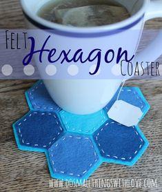 felt hexagon coaster -so cute!! use leather instead....so cool, yes