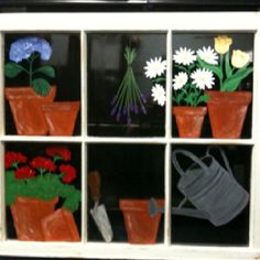 "Painted vintage windows.  Visited my FB page: Window Charm by Annalisa.  Don't forget to click ""like""."