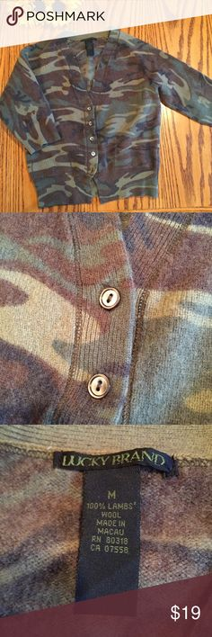 """Lucky Brand Camouflage Kids Sweater. Size medium Lucky Brand Camouflage Kids Sweater. Size medium. 19"""" long. 16"""" underarms. Lucky Brand Shirts & Tops Sweaters"""