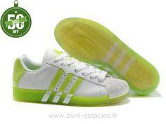 Boutique Femmes Adidas Chaussures Originals Ultrastar Xl Vert Blanc (Basket Adidas Femme Pas Cher)