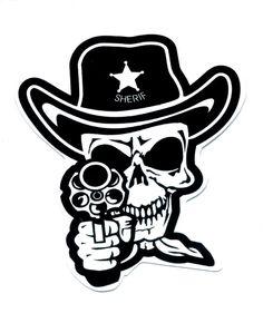 skull and pistols   Skull Sheriff Cowboy Punk Rock Gun Pistol Sticker, gun control decals ...