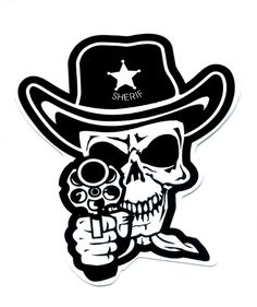 skull and pistols | Skull Sheriff Cowboy Punk Rock Gun Pistol Sticker, gun control decals ...