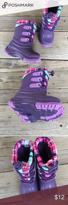 NWOT Girl's Size 5/6 Winter Boots Purple PRICE AND SHIPPING ARE FIRM.   Brand new without tags. Never worn. Baby/Toddler girls size 5/6. Cherokee brand. Cherokee Shoes Rain & Snow Boots