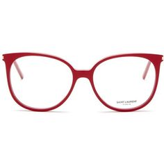 Saint Laurent Women's Oversized Round Acetate Optical Frames ($130) ❤ liked on Polyvore featuring accessories, eyewear, eyeglasses, shny red, oversized eyeglasses, red glasses, red eye glasses, round glasses and round eye glasses