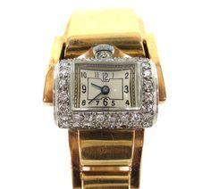 1950's Vintage French Diamond Lady's 18K Yellow & Rose Gold Bangle Watch #Luxury