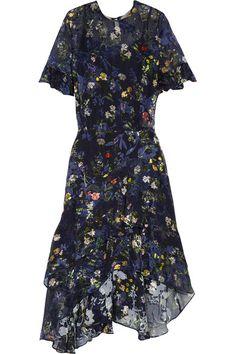 Preen by Thornton Bregazzi - Annabel Floral-print Devoré Silk-blend Chiffon Midi Dress - Indigo -