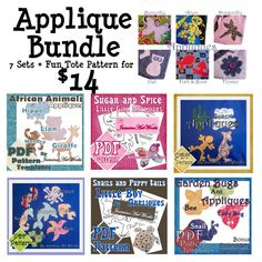Craft Applique PDF Pattern Template Bundle by JasmineArtWorks, $14.00
