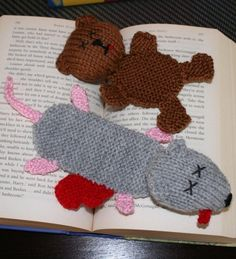 Knitting Pattern for Squashed Rat and Teddy Bookmarks
