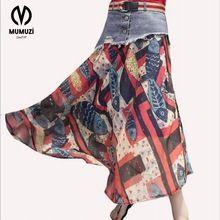 2017 new Button denim Waist Skirt Slim Chiffon printing Denim Skirts ladies jeans Skirt Ankle-Length high waist skirts with Belt Waist Skirt, High Waisted Skirt, Beach Skirt, Long Skirts For Women, Summer Skirts, Tie Dye Skirt, Chiffon, Chic, Stockings