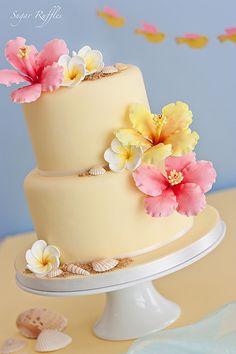 Pretty Cakes, Beautiful Cakes, Amazing Cakes, Luau Cakes, Beach Cakes, Fondant Cakes, Cupcake Cakes, Rose Cupcake, Hawaii Cake