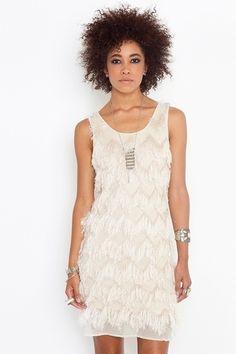 Eyelash Fringe Dress - Cream - StyleSays