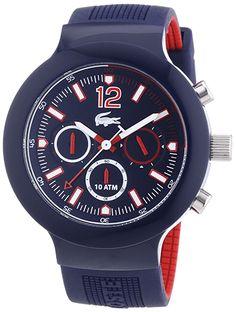 Montre Homme Lacoste Sport 2010703 - Quartz - Chronographe - Cadran Acier Bleu - Bracelet Silicone Bleu Rouge - PSG