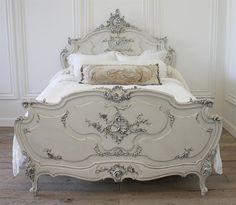 Antique Painted Louis XV Rococo Bed from Full Bloom Cottage