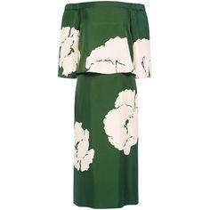 Tibi - Amara print off-the-shoulder dress ($545) ❤ liked on Polyvore featuring dresses, green dress, layered dress, pattern dress, off shoulder dress and green print dress