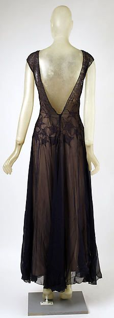 Back Evening dress Designer: Madeleine Vionnet (French, Chilleurs-aux-Bois 1876–1975 Paris) Date: 1937 Culture: French Medium: silk, cotton Dimensions: Length (from shoulder): 58 in. (147.3 cm) Credit Line: Gift of Mrs. Anthony Wilson, 1979