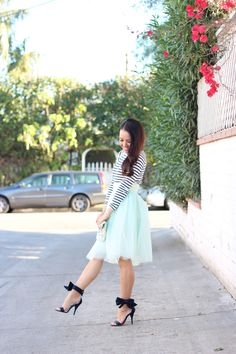 Mint tulle skirt, striped turtleneck and navy bow heels - details here: http://www.stylishpetite.com/2014/12/mint-tulle-skirt-and-striped-turtleneck.html