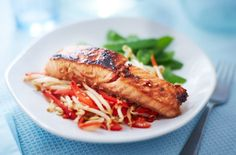 For a fast and healthy midweek dinner idea, try this speedy Asian-inspired salmon recipe with colourful veggie slaw. See more Salmon recipes at Tesco Real Food. No Calorie Foods, Low Calorie Recipes, Healthy Recipes, Healthy Meals, Asian Salmon, Tesco Real Food, Salmon Fillets, Salmon Recipes, Seafood Recipes