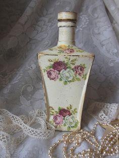 """Decorative handmade glassware.  Bottle """"Vintage Rose"""".  Lyudmila Kruglov Shop """"Comfort"""".  Shop Online Fair Masters.  Bottle"""