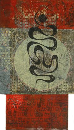 """Adding to the Dialogue, by Anne Moore, monotype with collage, 21""""X12"""""""