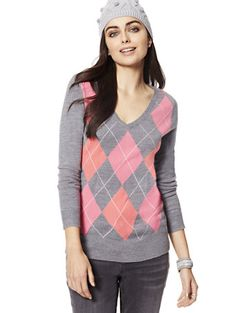 Shop Waverly V-Neck Sweater - Argyle. Find your perfect size online at the best price at New York & Company.