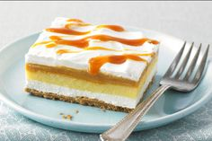 Two favorite flavors come together in this no-bake dessert - a vanilla and butterscotch filling over a buttery graham crumb crust.