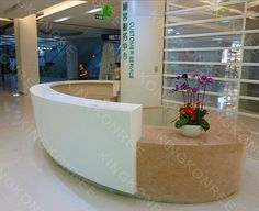 Reception Desk Furniture of Office : Make Reception Desk Furniture . Curved Reception Desk, Curved Desk, Hotel Reception, Reception Design, Reception Areas, Antique White Desk, Receptionist Desk, Diy Canopy, Exhibition Stand Design