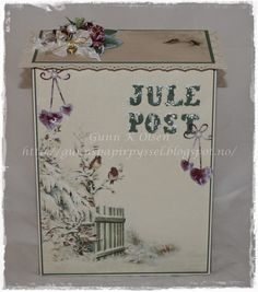 Gunns Papirpyssel Mailbox, paperfolding, papirbretting, 3D, paper, papir, scrapbooking, scrapping, jul, christmas, postboks, postkasse