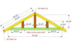 This step by step diy project is about how to build an L-shaped roof. Building a gable roof for an L-shaped shed is easy, if professional plans and tools are used. Carport Plans, Pergola Plans, Garage Plans, Diy Pergola, Gazebo, Roof Truss Design, Diy Shed Plans, Cabin Plans, Shed Doors