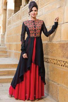 #eid #dresses -Black and red Georgette Anarkali churidar Suit With Dupatta - DMV14739