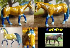Schleich Holsteiner mare (original below right): this time I felt like bright colors! Jused the Fantasy Horse Maker on dolldivine.com (below left) as a reference and gave her a badgerface.