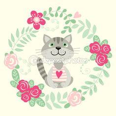 tarjeta de invitación con flores y el gato — Ilustración de stock #77104883