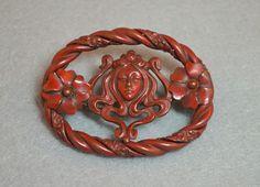 Art Nouveau Burgundy Red Enamel Repousse by HighClassHighway